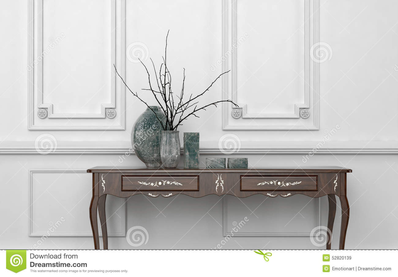 Vintage Style Console Table In A Classic Room Stock