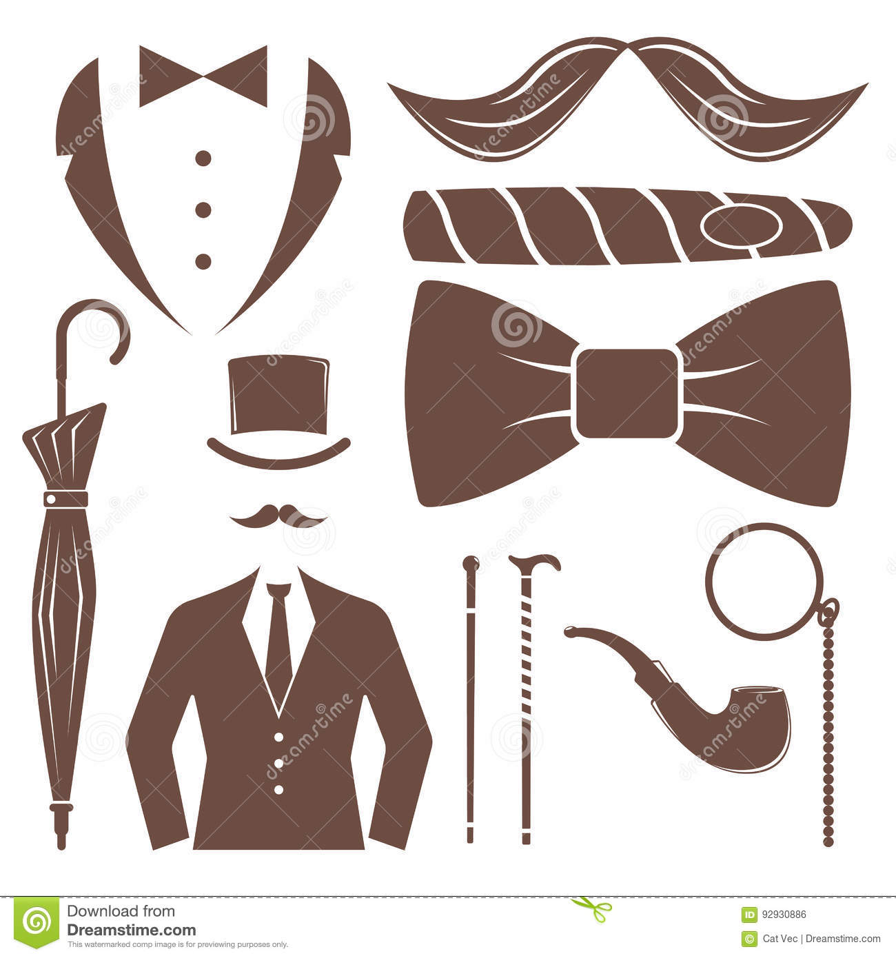 vintage style design hipster gentleman vector illustration brown silhouette design mustache. Black Bedroom Furniture Sets. Home Design Ideas