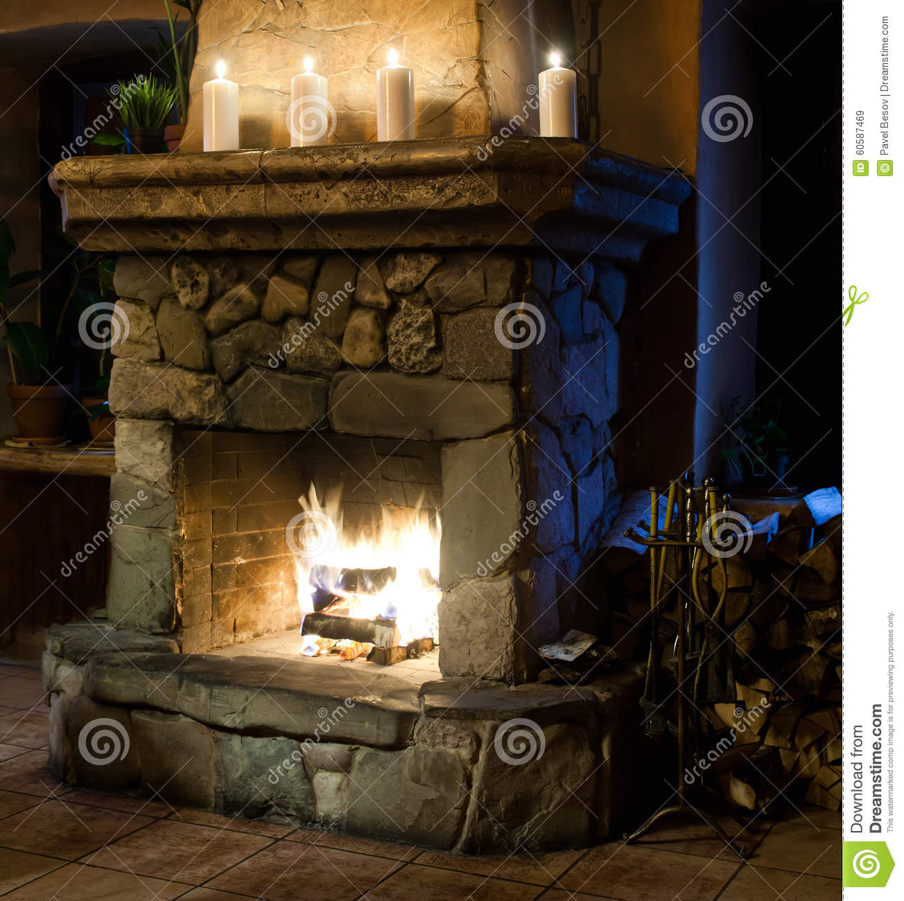 Vintage Style Fireplace Room Chimney Candles And