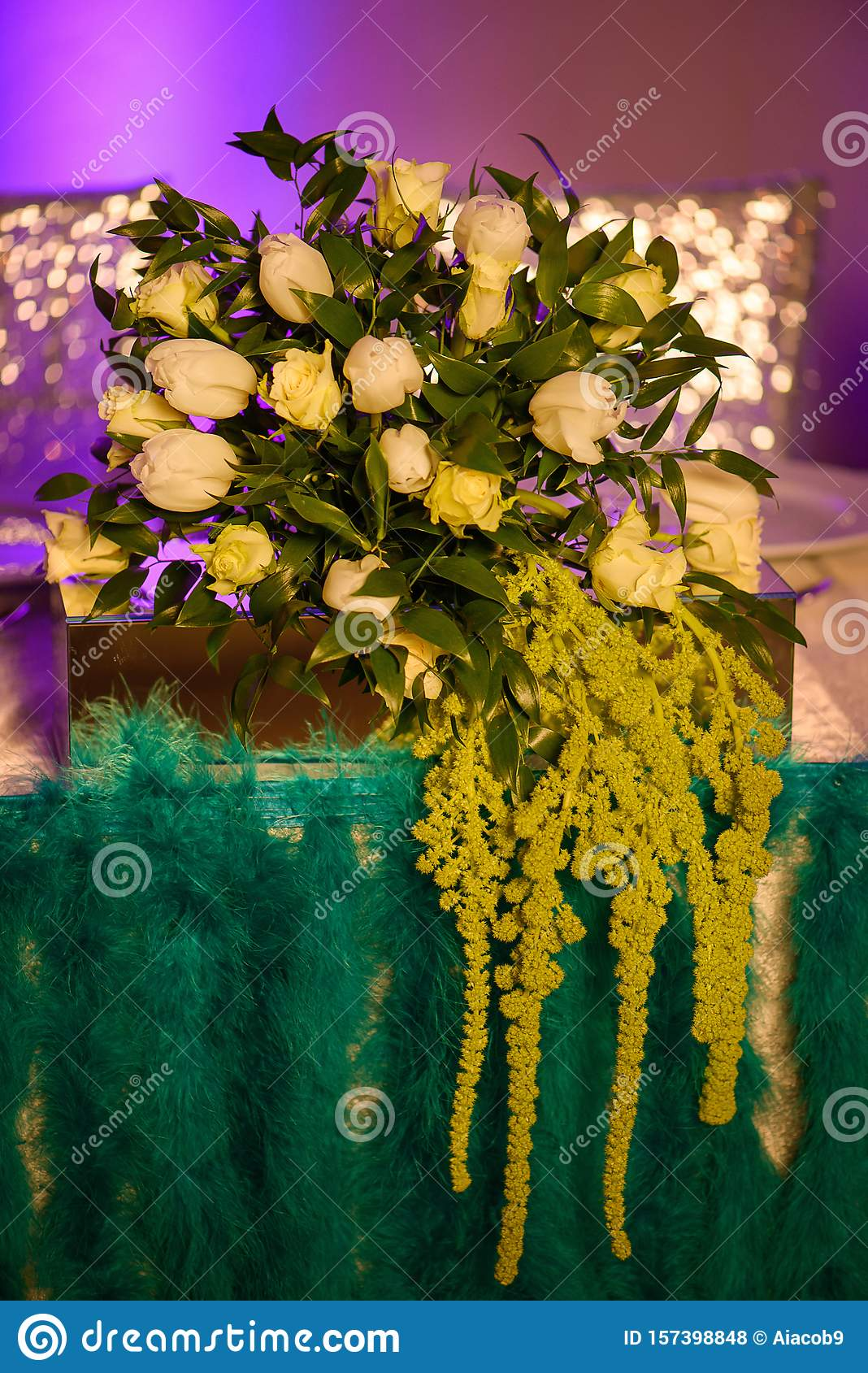 Vintage Style Floral Arrangement With Fresh White Tulips And Roses Mixed  With Waxy Green Leaves Stock Photo - Image of glass, flower: 157398848