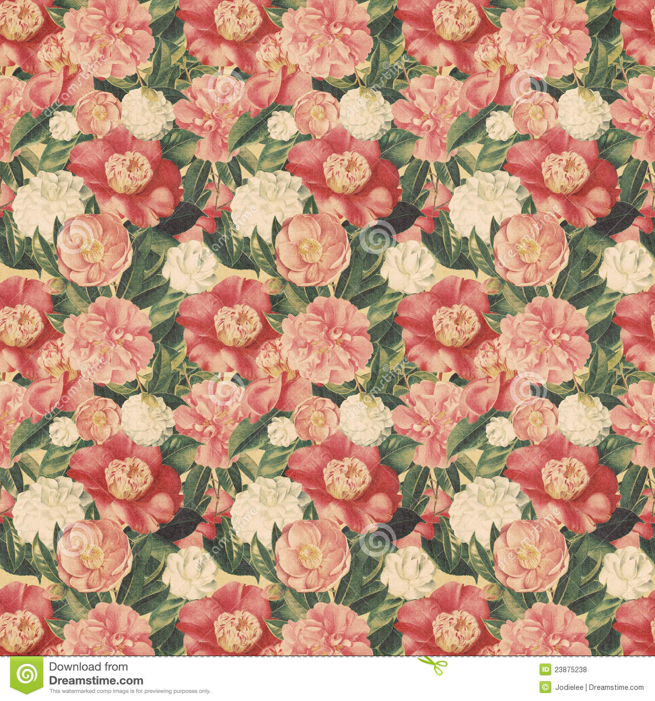 Antique Floral: Vintage Style Floral Background With Pink Blooms Stock