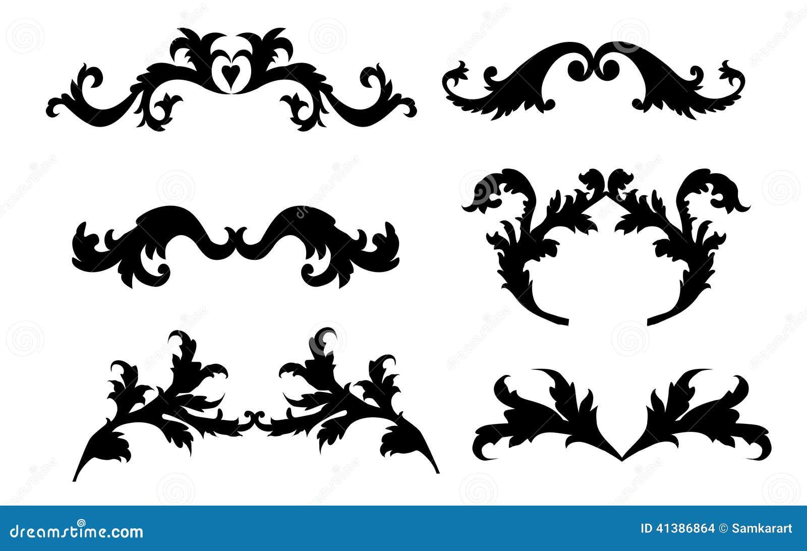 vintage style floral frame elements