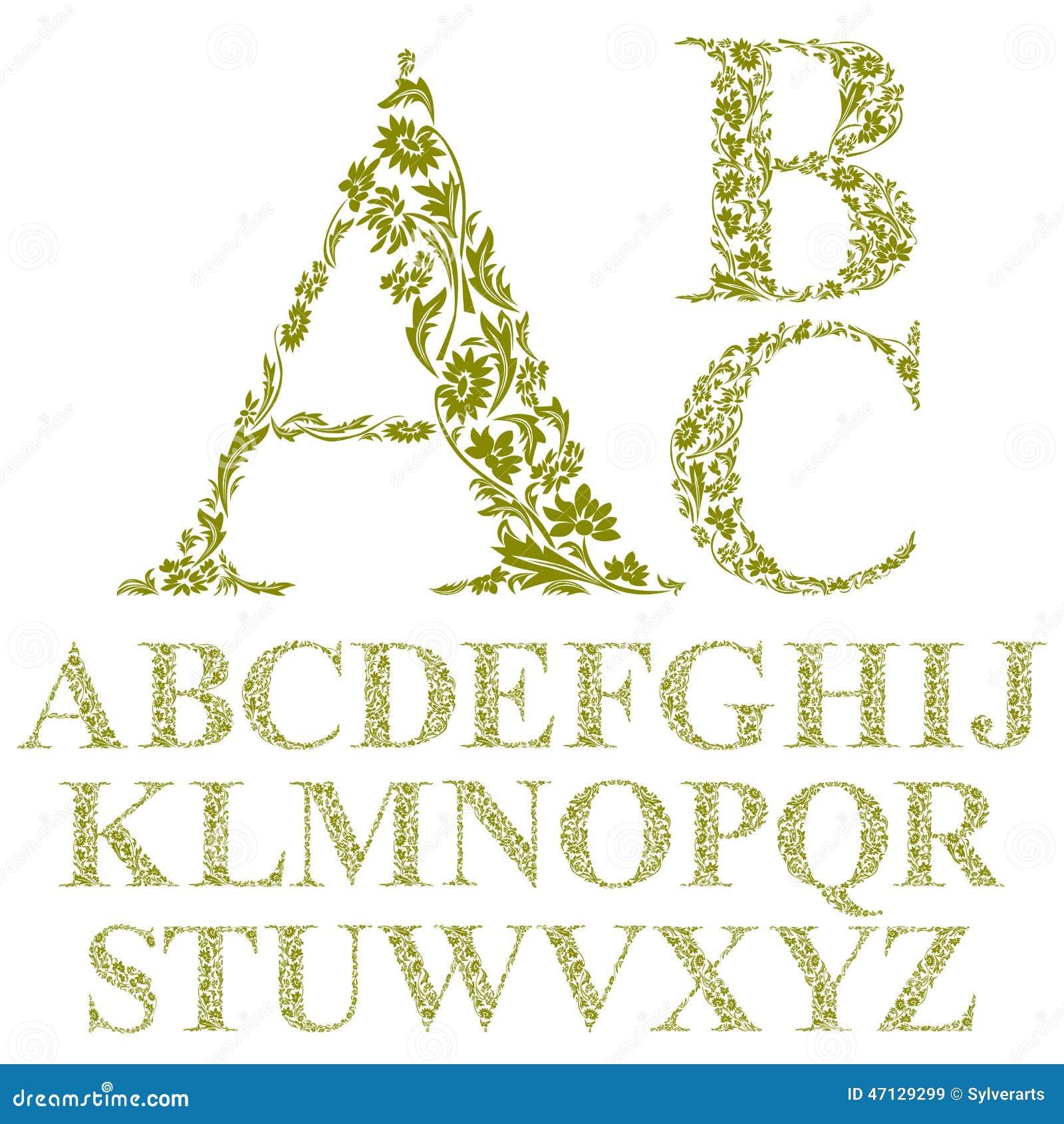 Vintage Style Floral Letters Font, Vector Alphabet. Stock