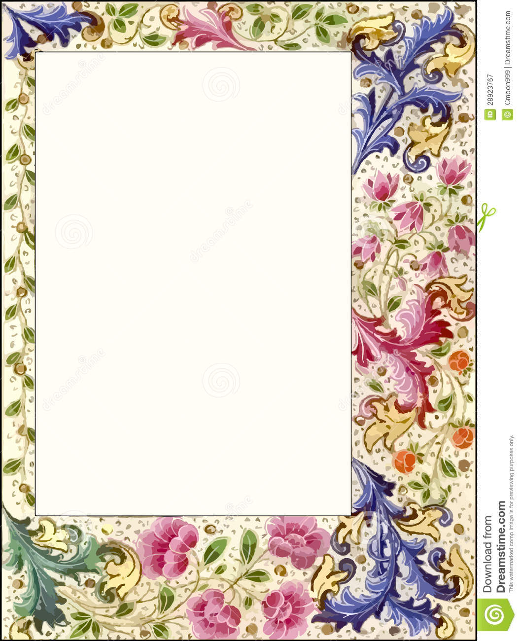 Royalty Free Stock Photography: Vintage Style Floral Scrapbook Frame ...