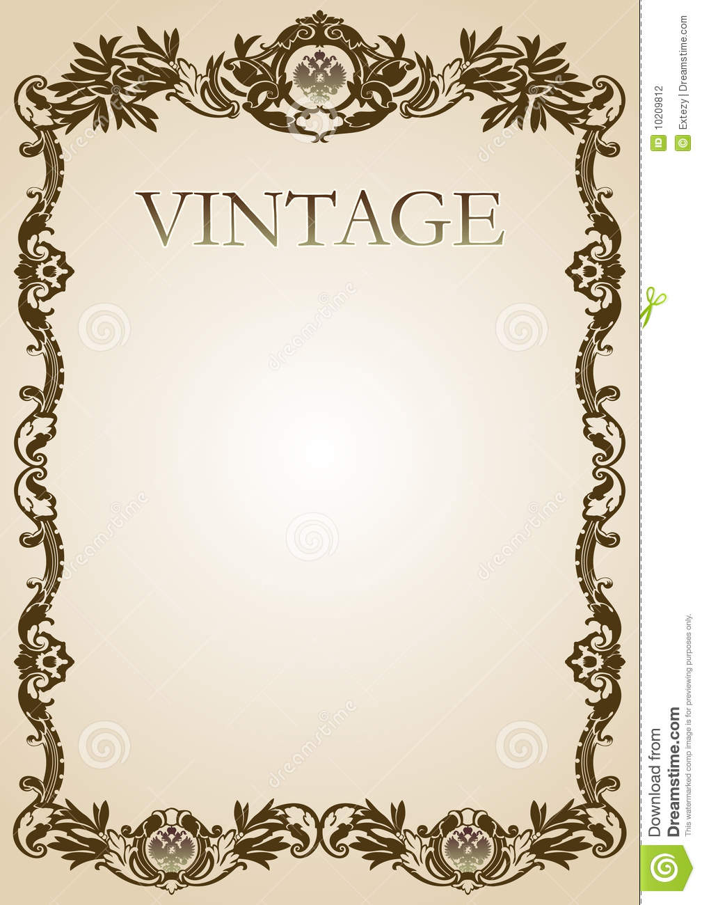 Vintage style frame brown stock vector. Illustration of decorative ...