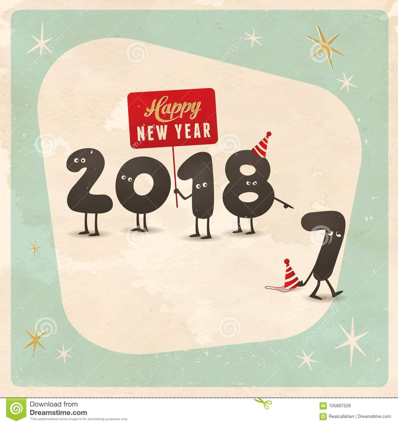 Vintage Style Funny Greeting Card Happy New Year 2018 Stock