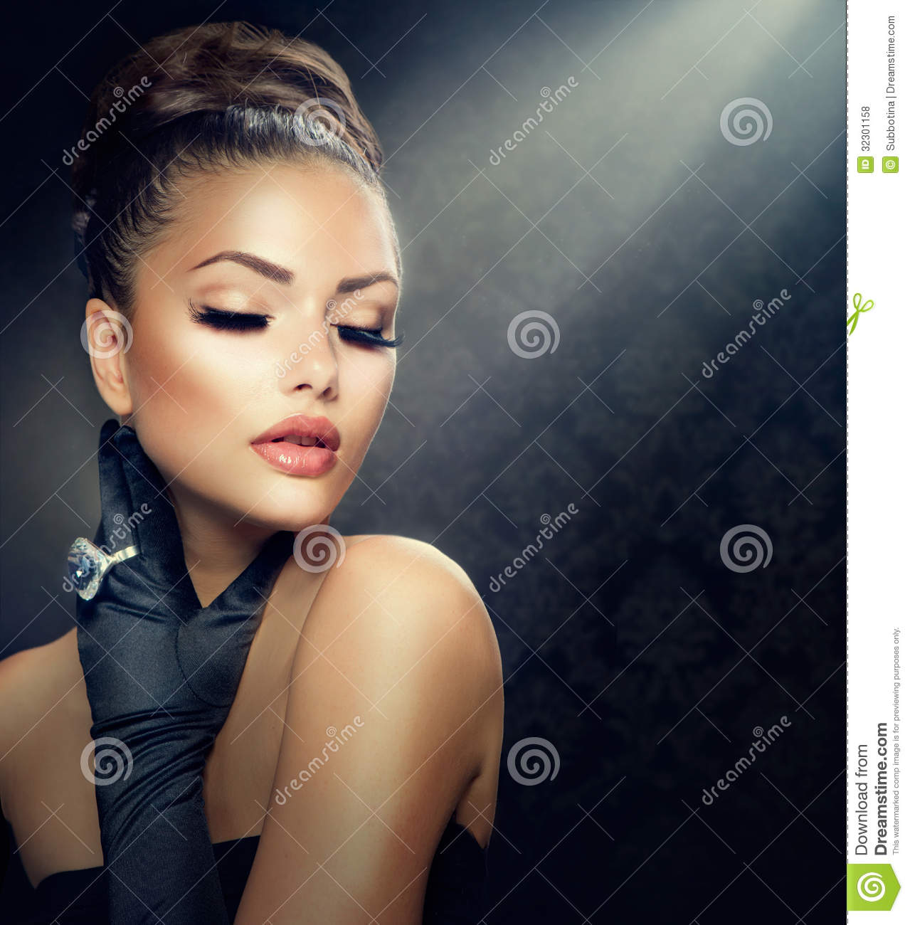 Vintage Style Girl Stock Photo Image Of Up Beauty Facial 32301158