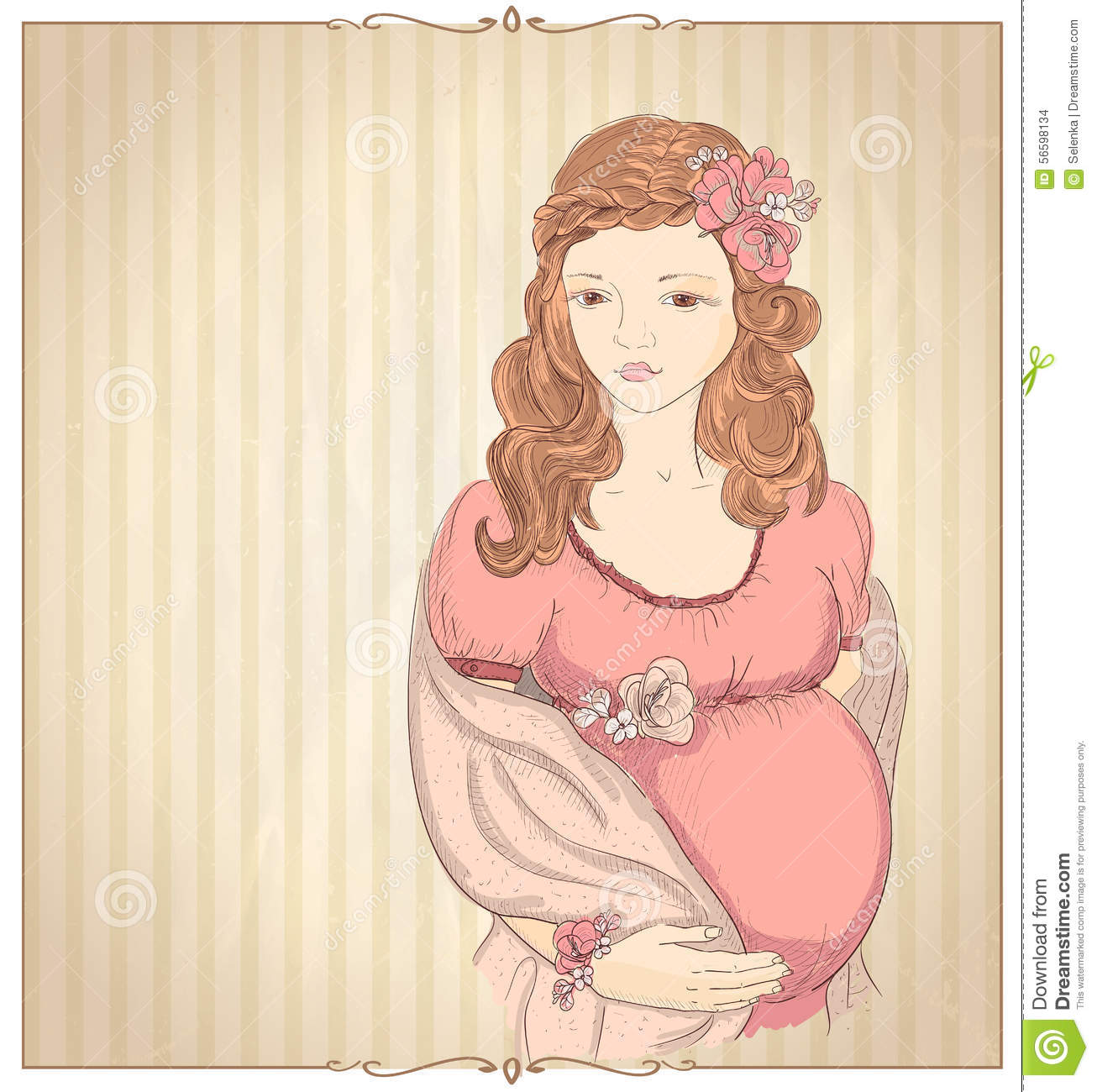 Vintage Style Graphic Portrait Of A Pregnant Woman Stock ...