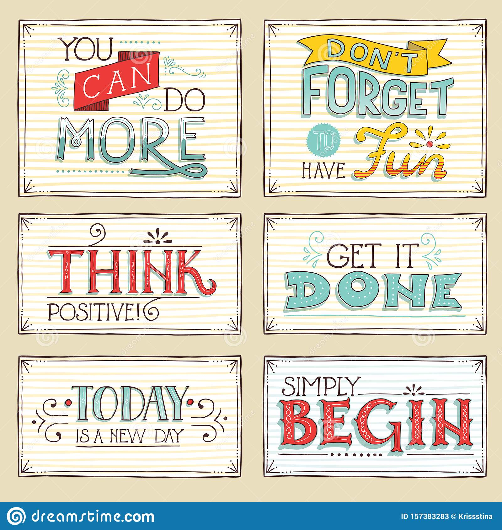 Vintage Style Hand Drawn Short Positive Inspirational Quotes ...
