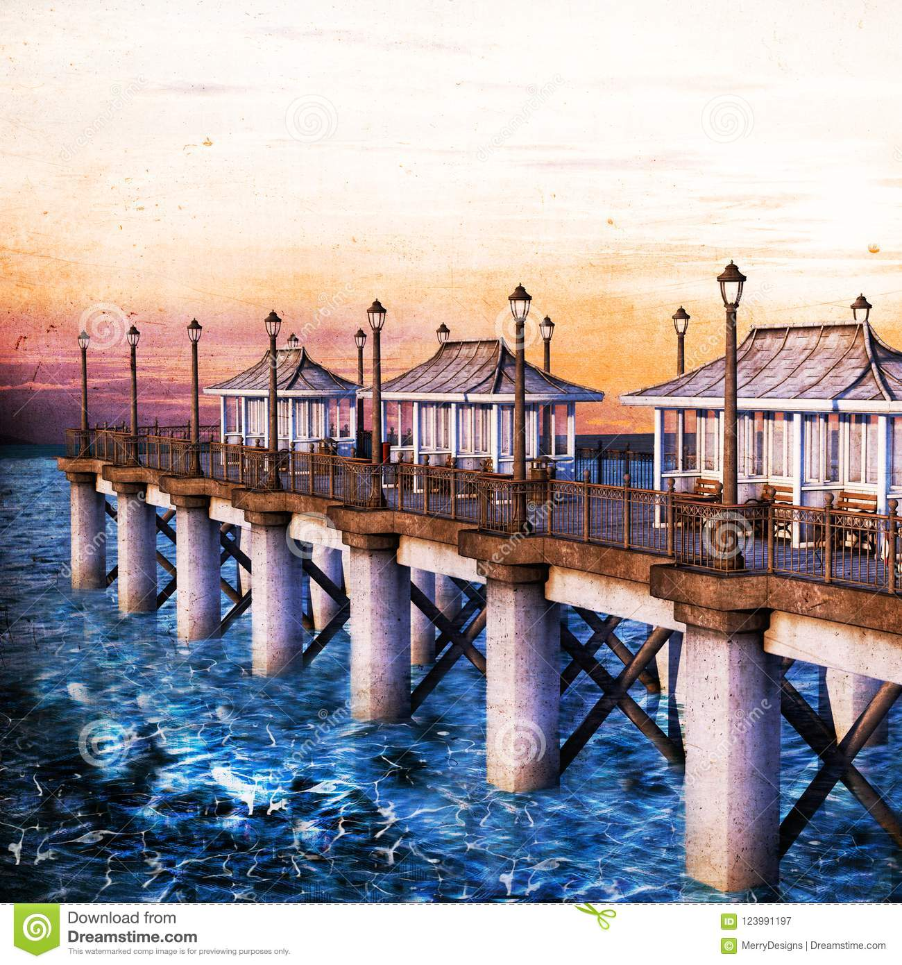 Vintage Style Illustration of a Pier for backgrounds