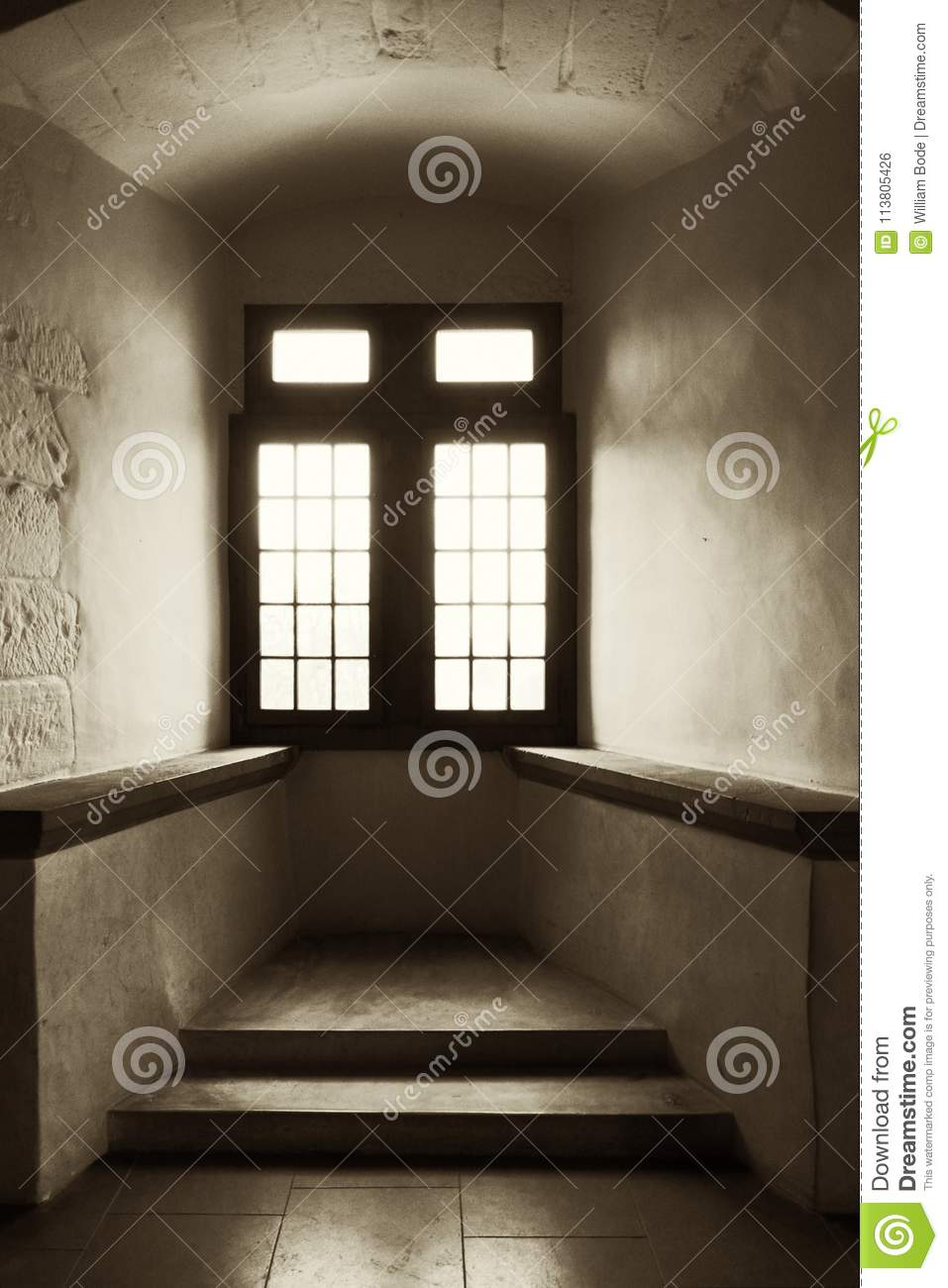 Vintage Arched Recess Alcove Window Stock Photo - Image of deeply ...