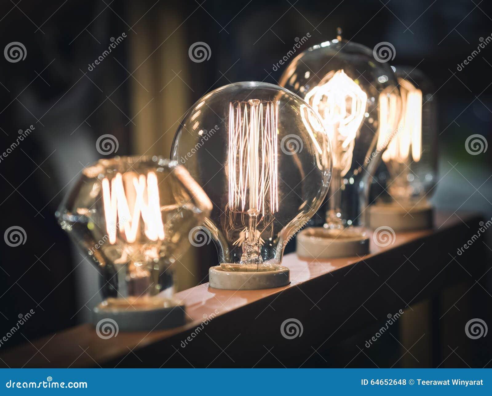 vintage style light bulbs interior decoration display stock photo