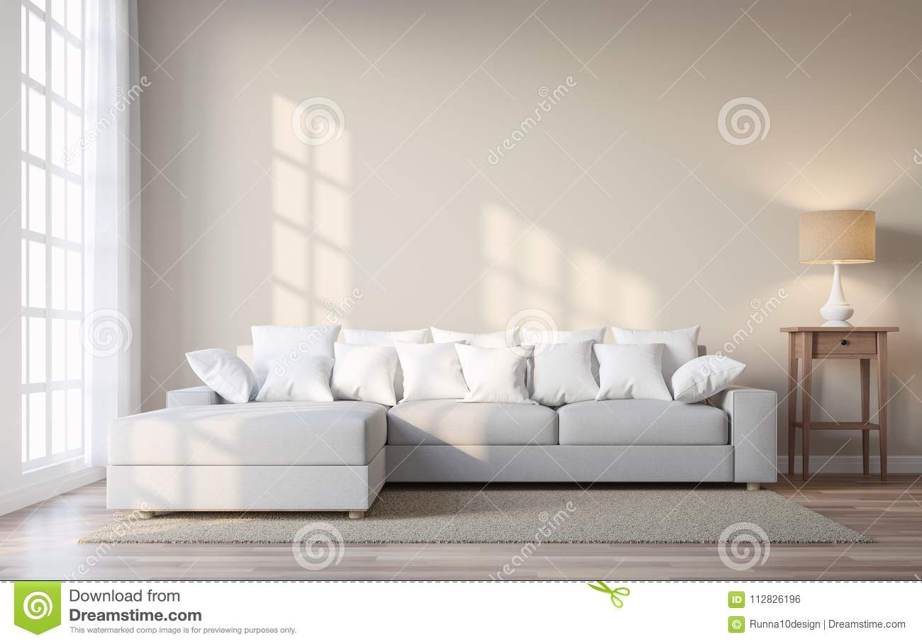 Vintage Style Living Room With Beige Color Wall 3d Render ...