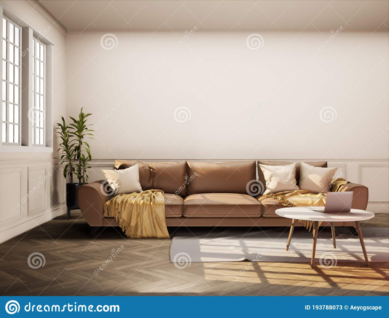 Vintage Style Living Room With Beige Color Wall 3d Render The Rooms Have Wooden Floors Light Brown Walls And Window Stock Illustration Illustration Of Sofa Design 193788073