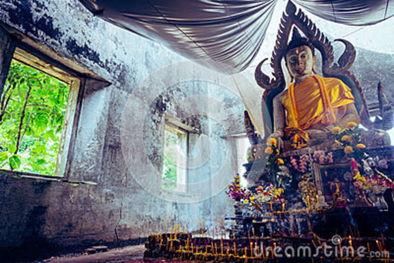 Vintage Style Photo, A Public Ancient Thai Buddha Statue Left In The