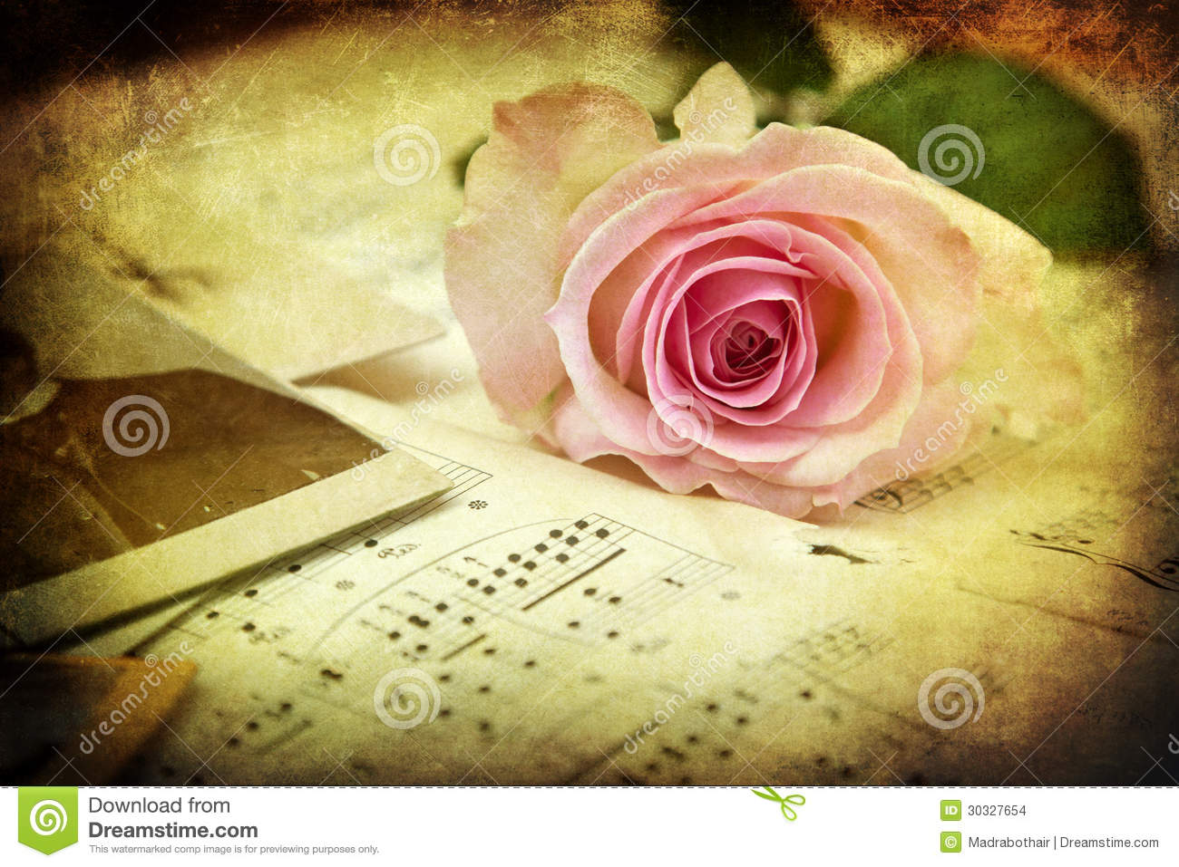 Vintage Style Picture Of A Pink Rose On Music Notes Stock Photo