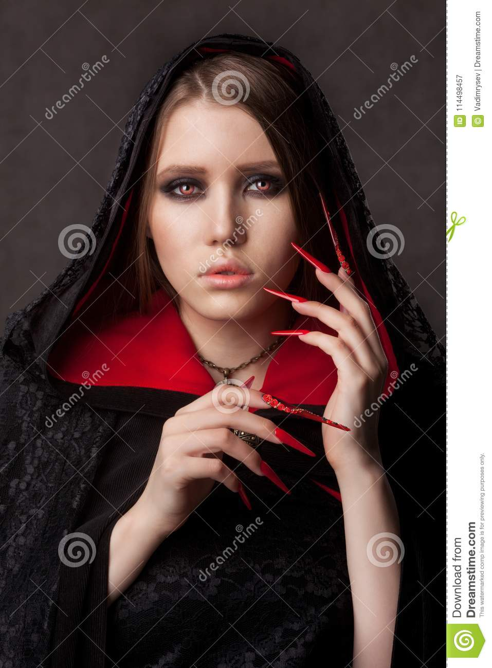 Download Vintage Style Portrait Of Young Beautiful Vampire Woman With Gothic Halloween Makeup Stock Image