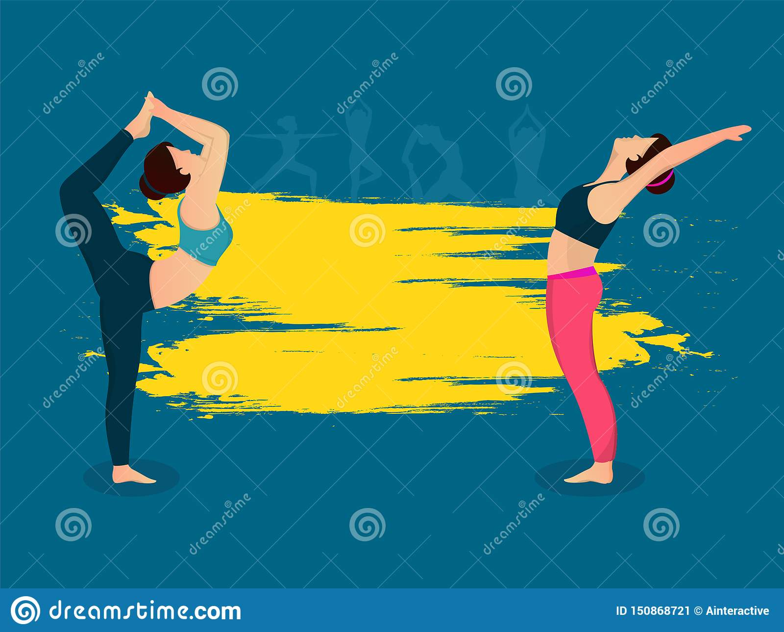 Vintage Style Poster Or Banner Design Two Young Lady In Different Yoga Pose On Yellow Color Stroke Background Stock Illustration Illustration Of Body Health 150868721