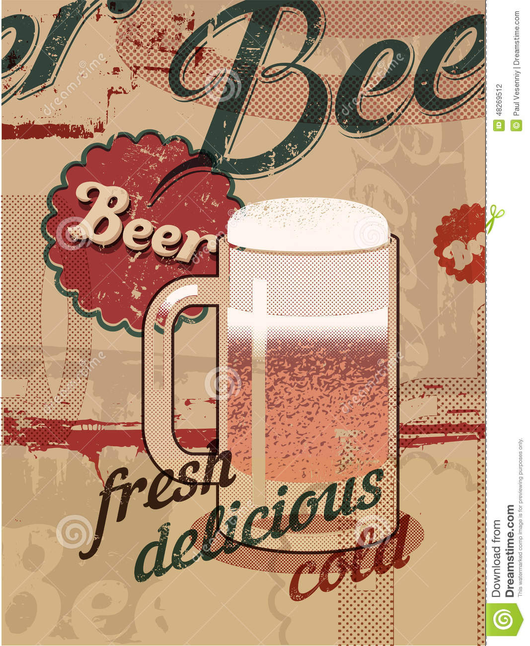 Vintage style poster with a beer mug retro vector beer poster stock vector image 48269512 - Retro stuhle gunstig ...