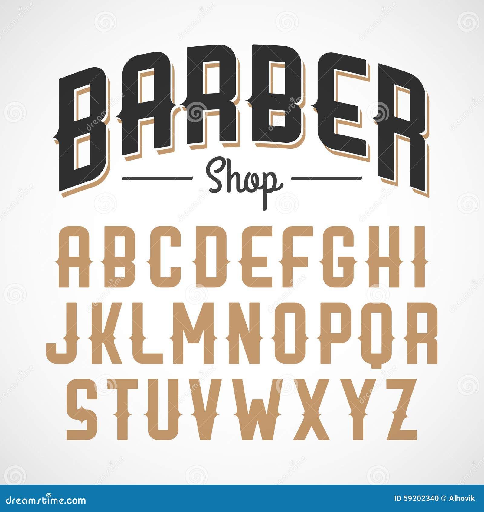 Barber Font : Barber shop, vintage style sans serif font.