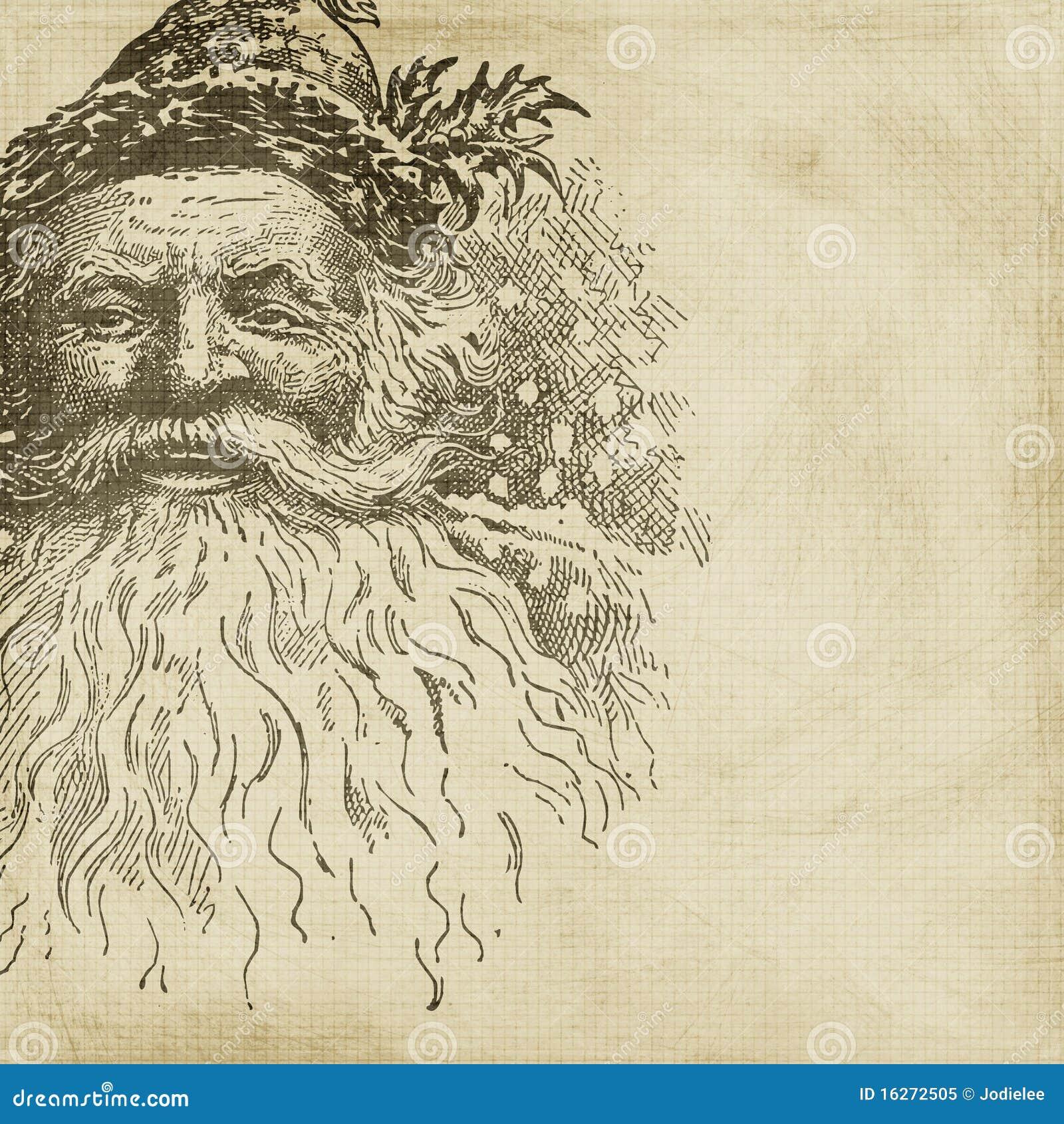 Vintage Style Santa Christmas Scrapbook Background Royalty Free Stock ...