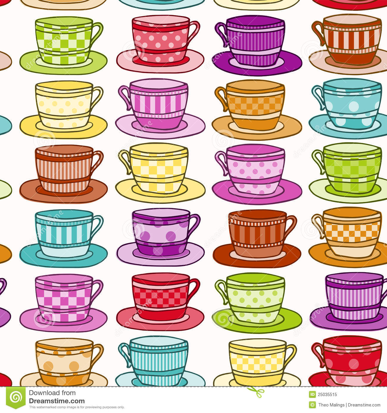 Kitchen Tea Background: Vintage Style Teacup Background Stock Vector