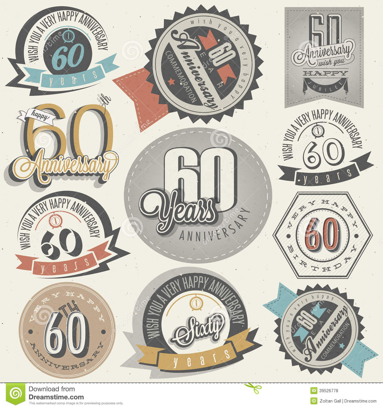 Vintage Style Th Anniversary Collection Sixty Design Retro Labels Greeting Hand Lettering Typographic Calligraphic Elements