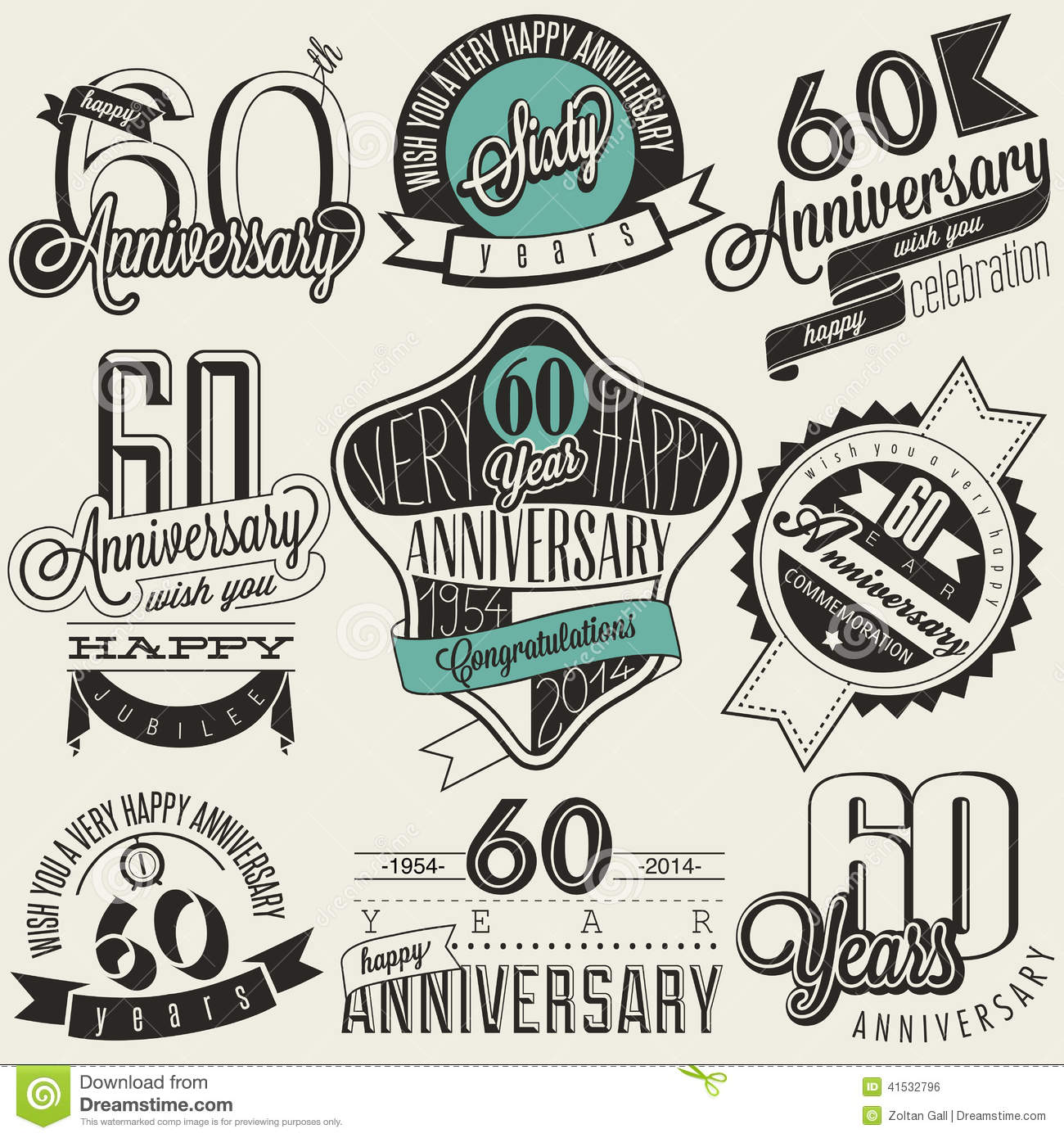 vintage style 60th anniversary collection stock vector 60th birthday clip art for man 60th birthday clip art male