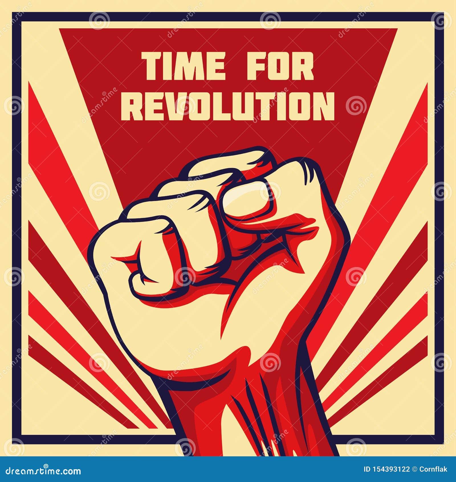 Vintage Style Vector Revolution Poster Raised Fist Stock