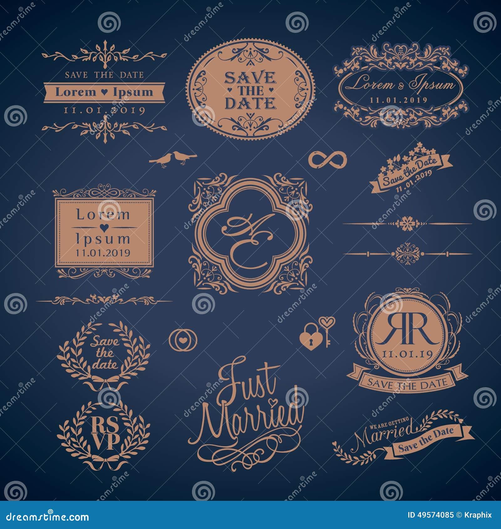 Vintage Style Wedding Monogram Border And Frames Illustration 49574085 Megapixl