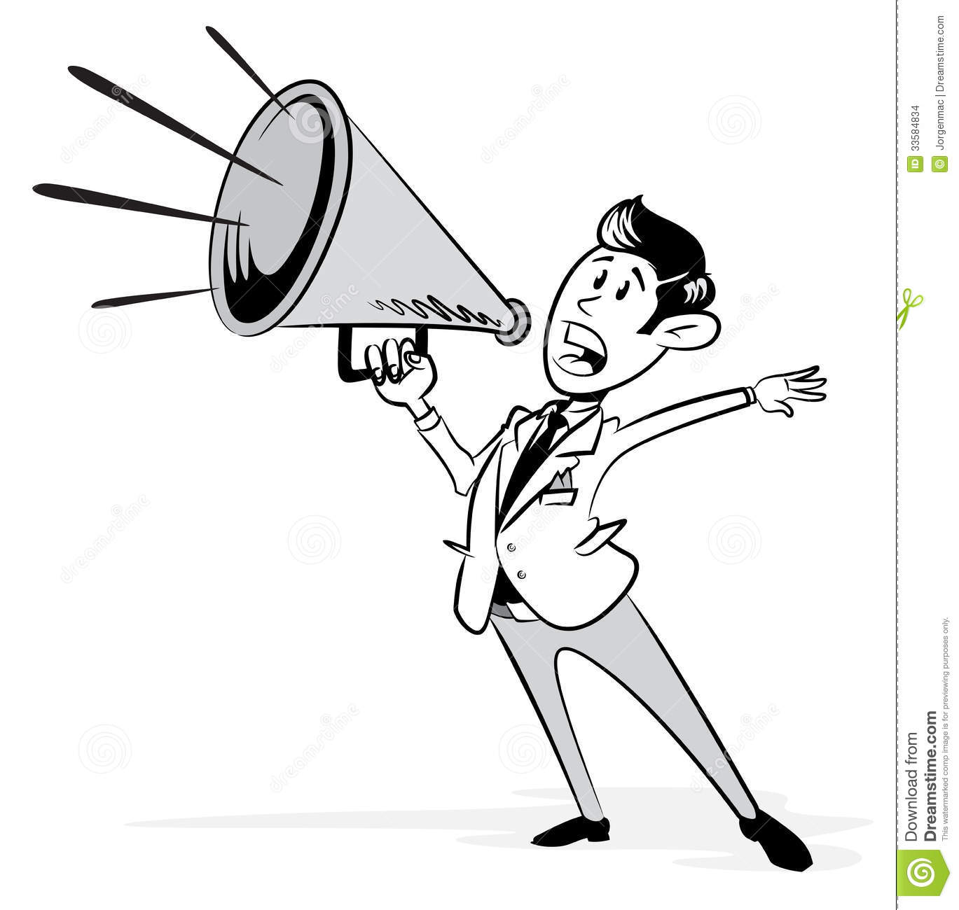 vintage styled businessman with his megaphone stock vector