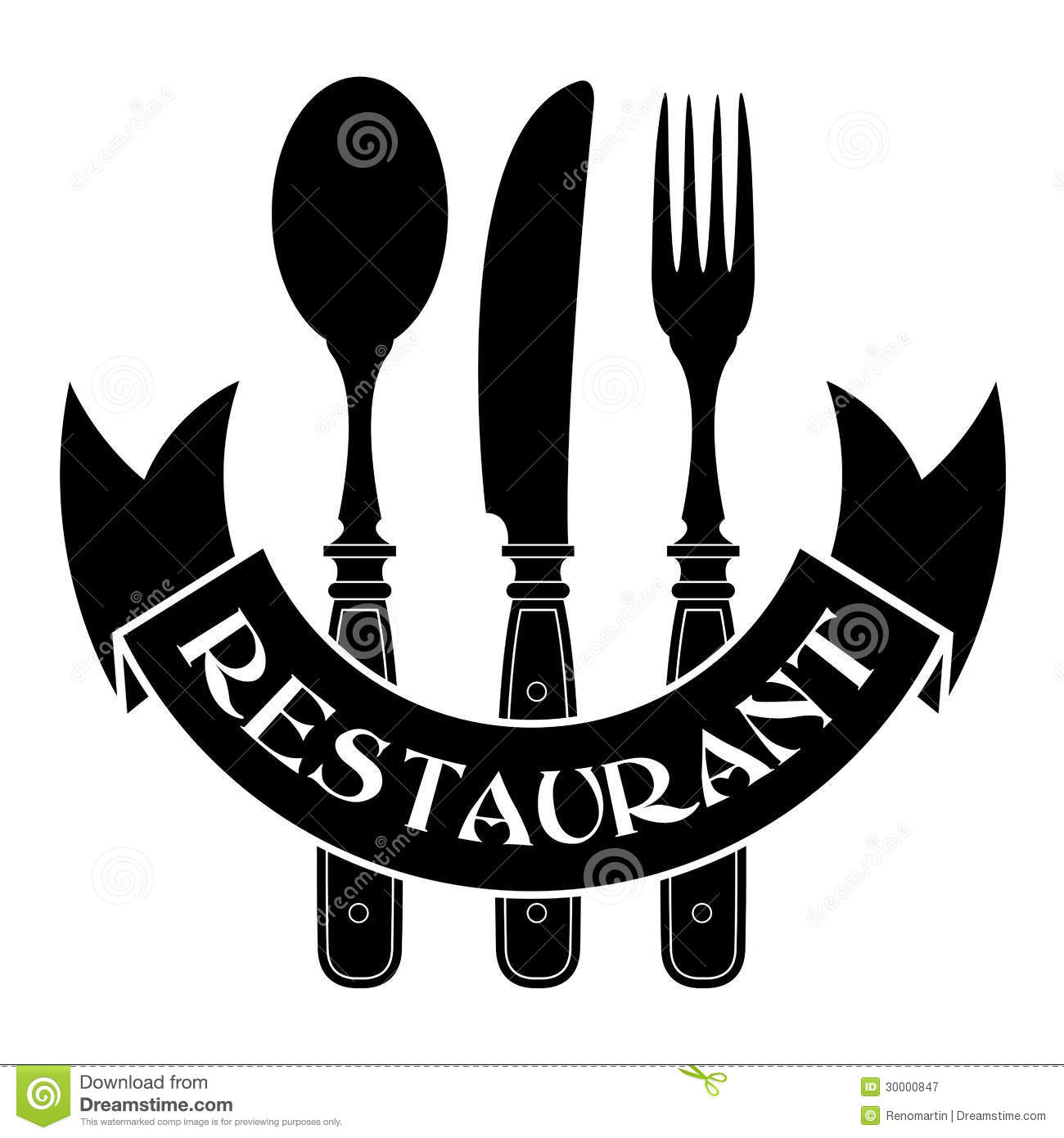 Knife, Fork And Spoon / Restaurant Seal Stock Vector ...