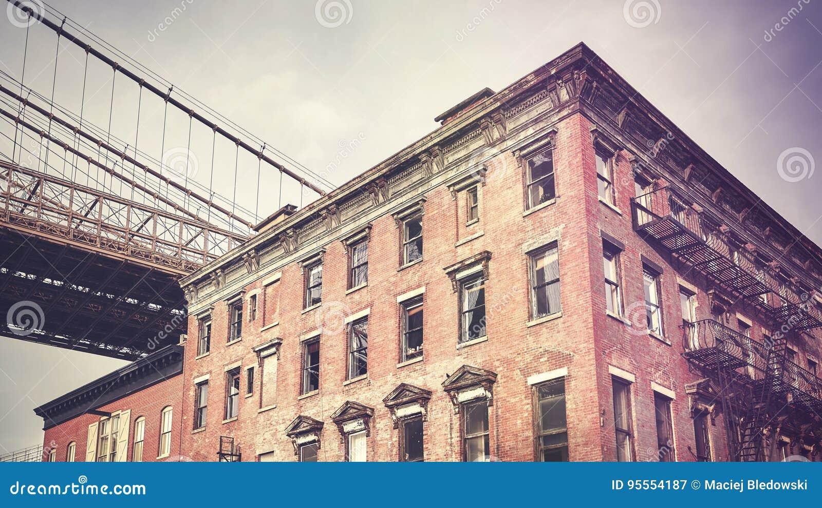 Vintage stylized old building in Dumbo neighborhood, New York.