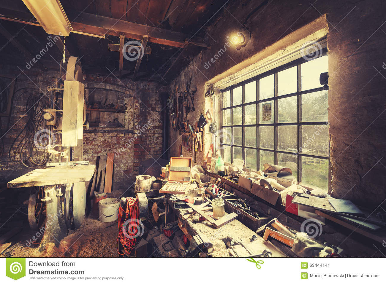 Vintage Stylized Old Carpenter Workshop Interior Stock Image Image