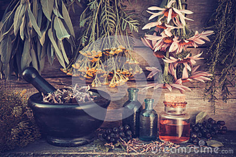 Vintage stylized photo of healing herbs bunches and mortar