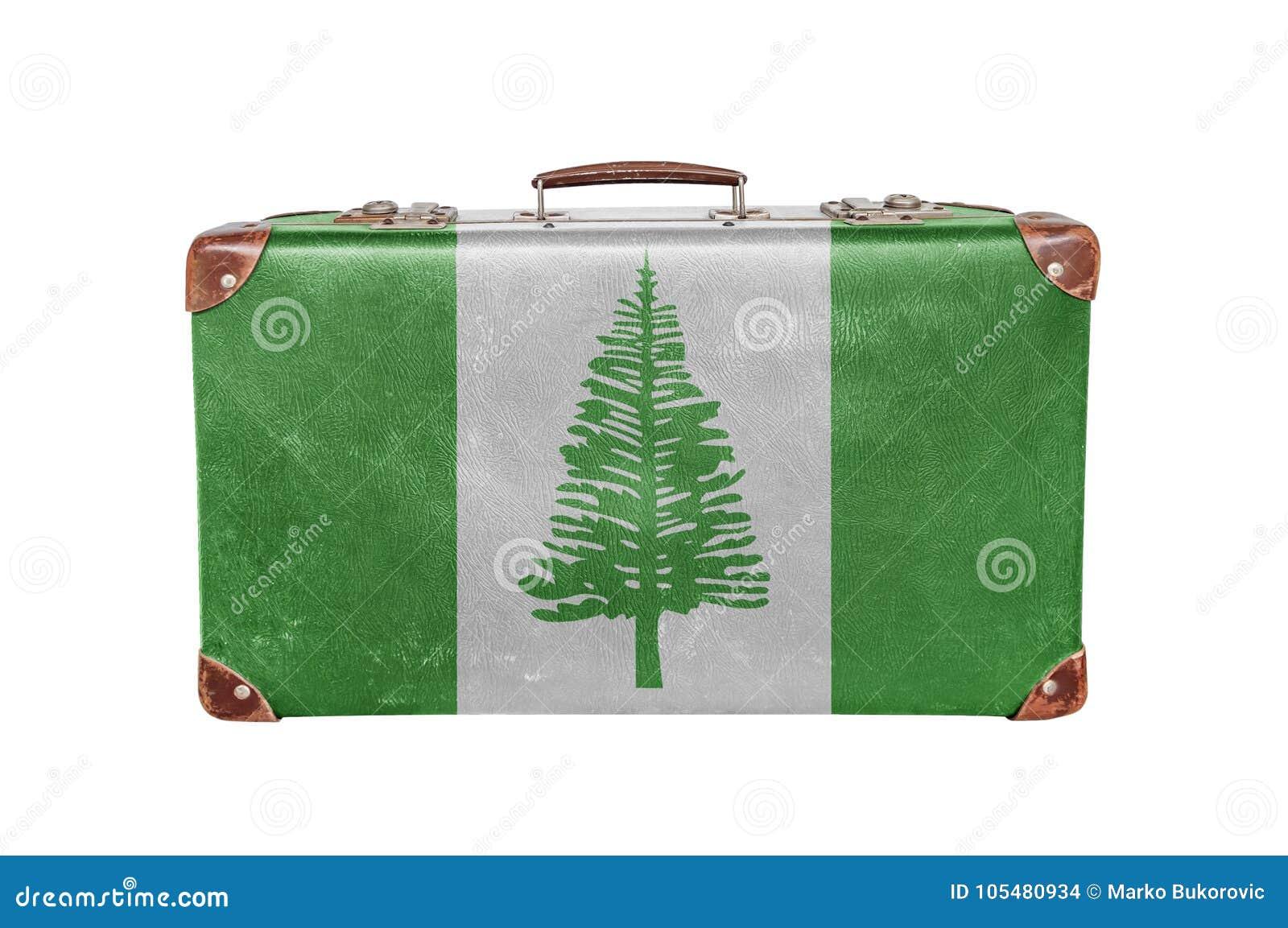 Vintage suitcase with Norfolk Island flag