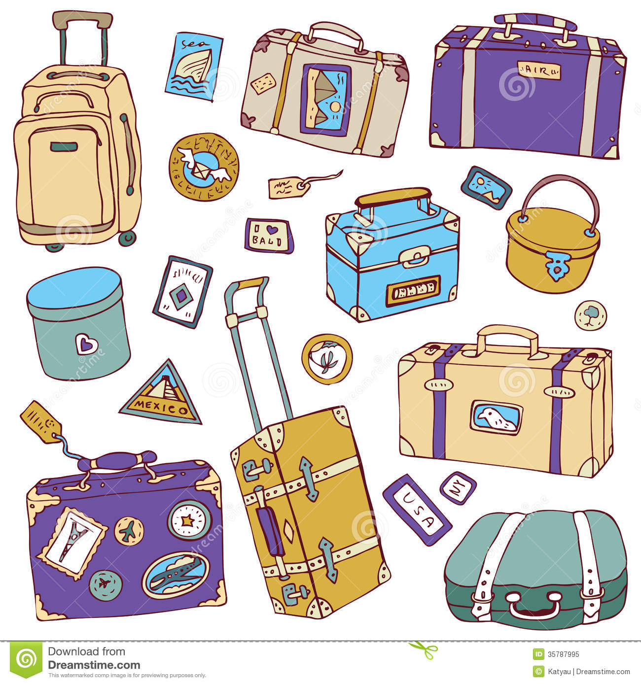 Vintage Suitcases Set Travel Vector Illustration Royalty Free Stock Photo Image 35787995