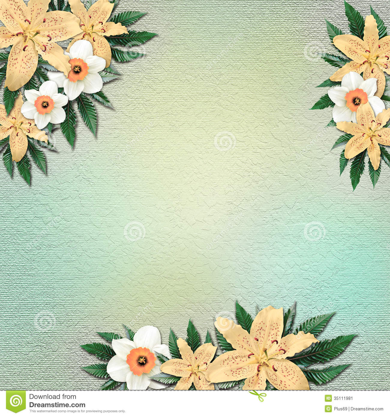 Vintage Summer Background With Flowers And Leaves Stock ...