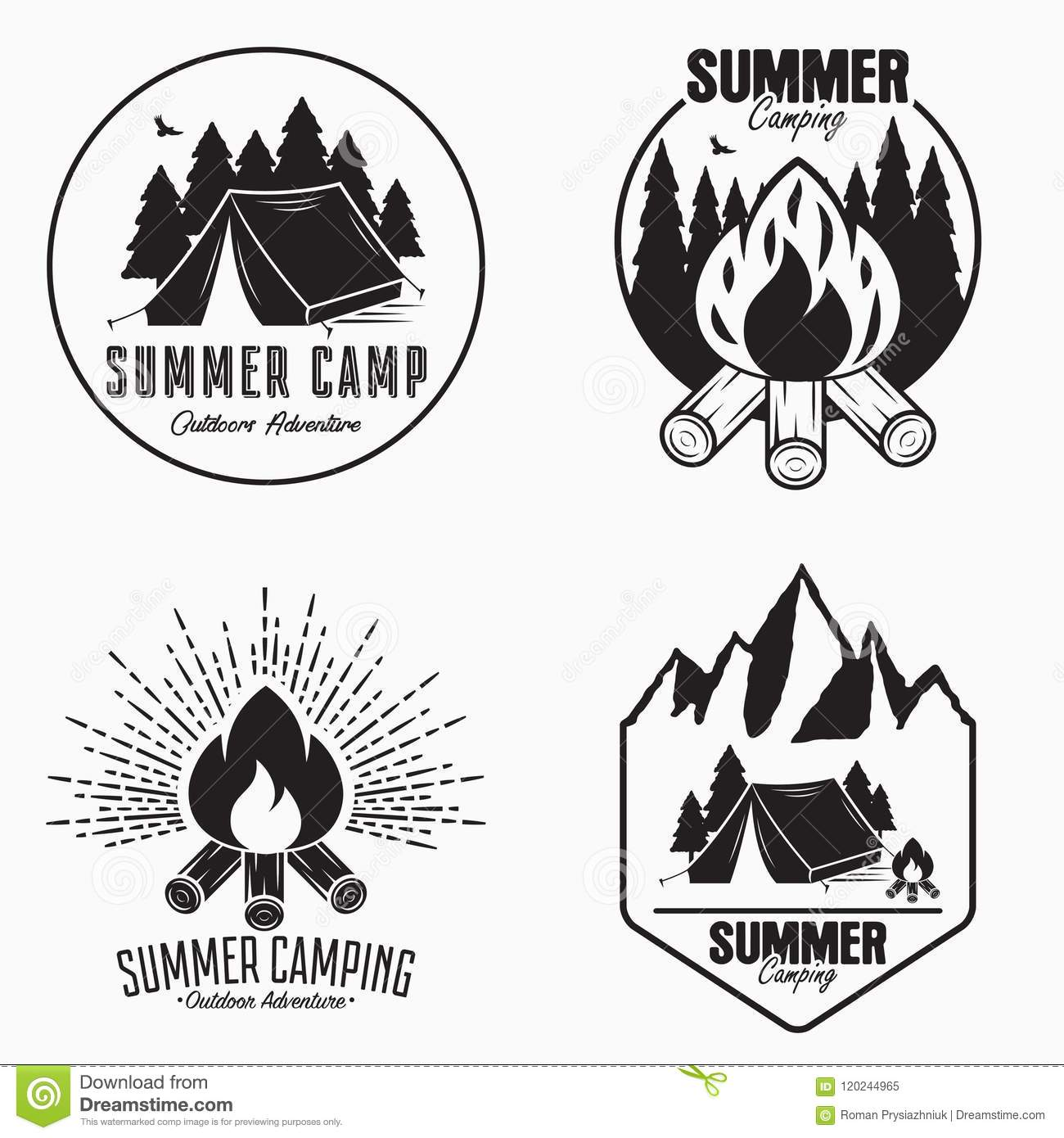 Vintage summer camp logo set. Camping badges and outdoor adventure emblems. Original typography with camping tent, bonfire.