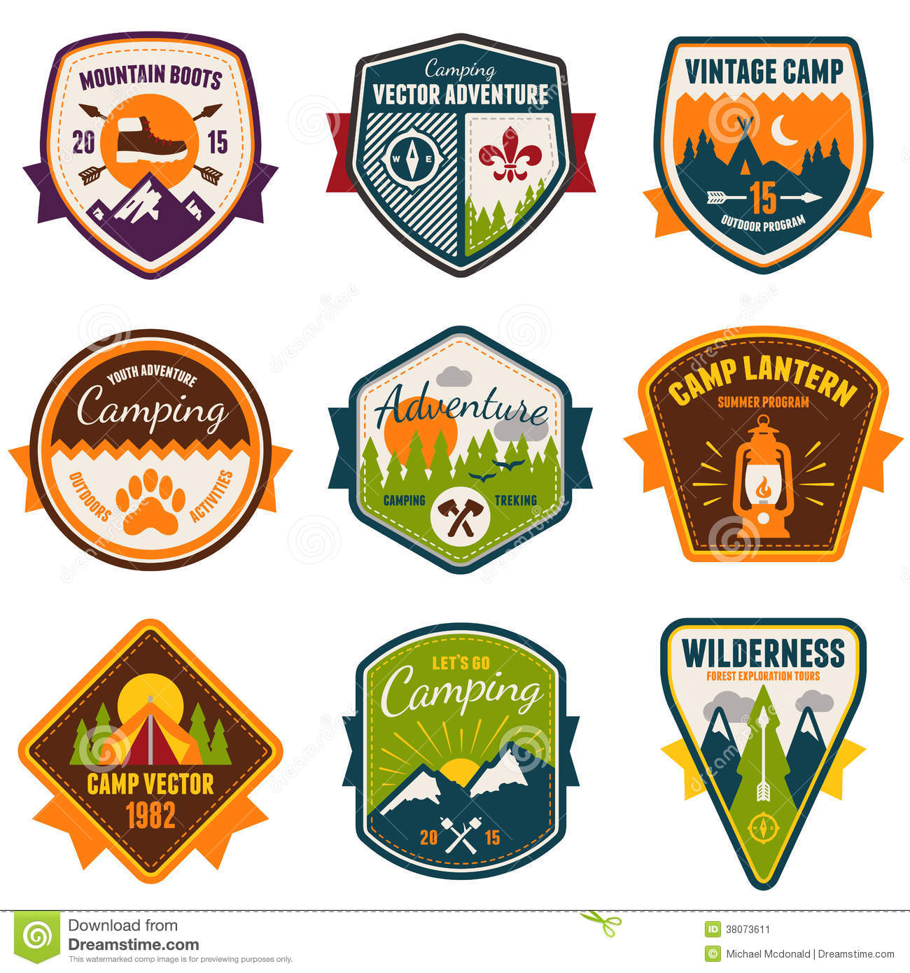 Vintage Summer Camp And Outdoor Badges Stock Image - Image ...