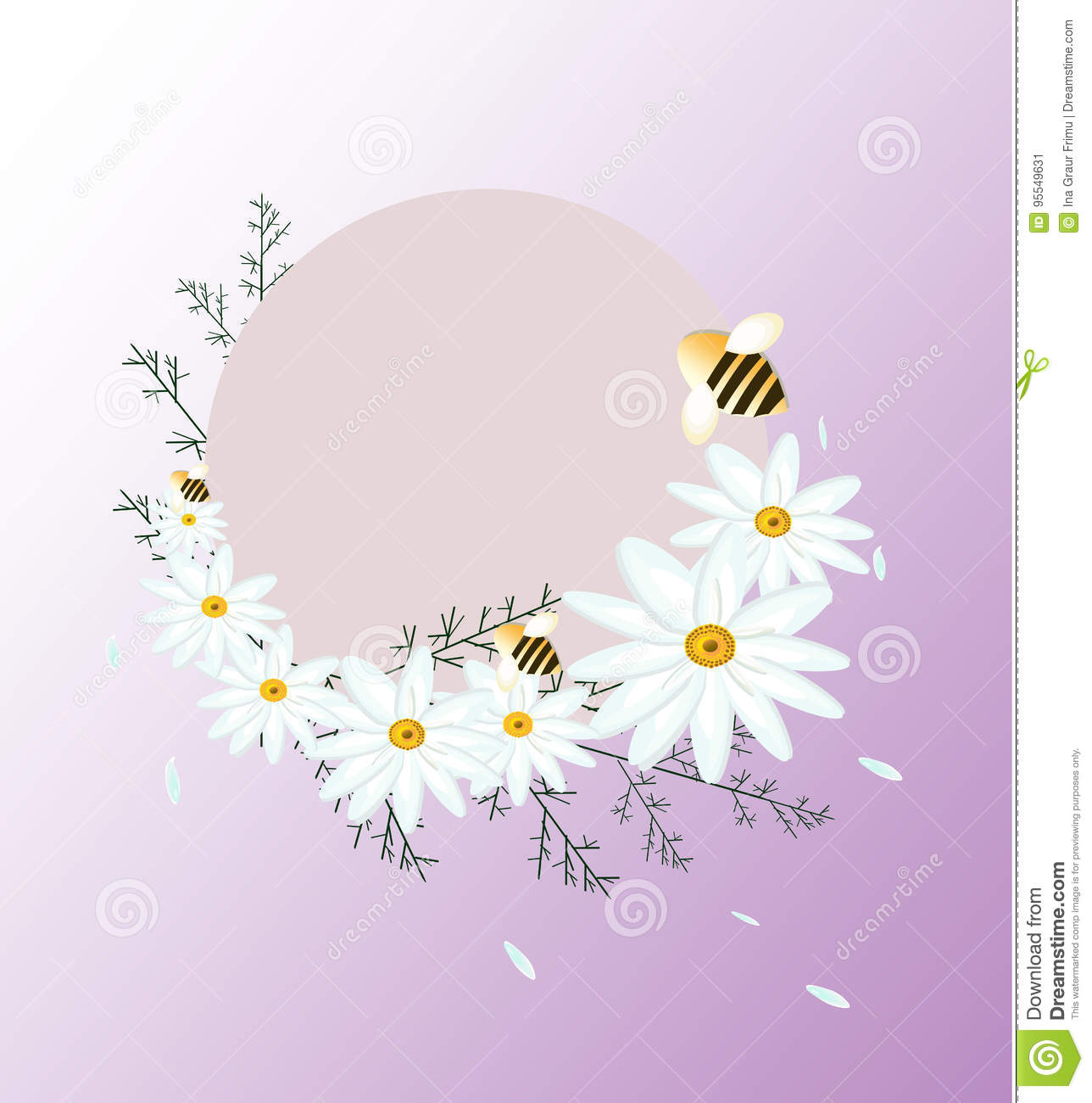 Vintage Summer Chamomile Flowers Card Round Decoration For Wedding