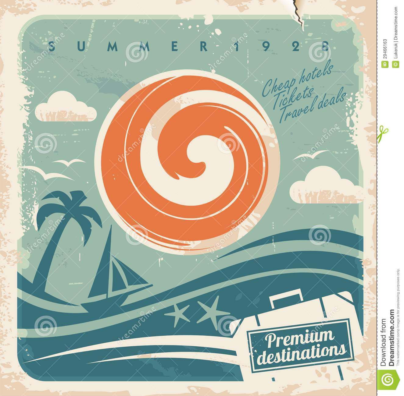 Vintage Summer Holiday Poster Stock Vector