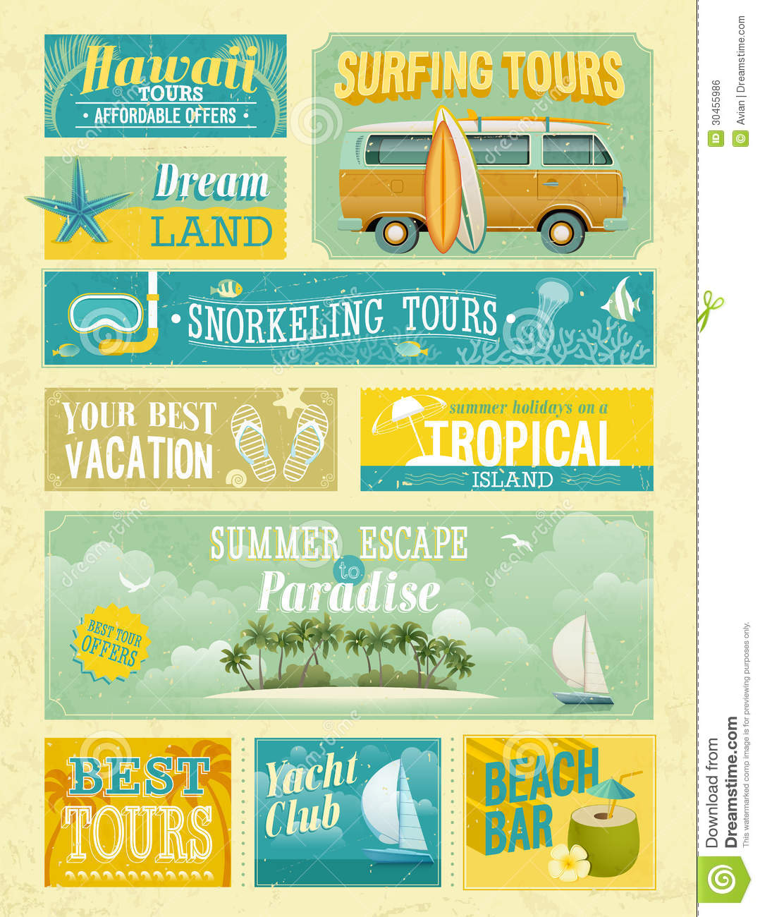 Beautiful Vintage Summer Seaside Illustration Royalty Free: Vintage Summer Holidays And Beach Advertisements. Stock
