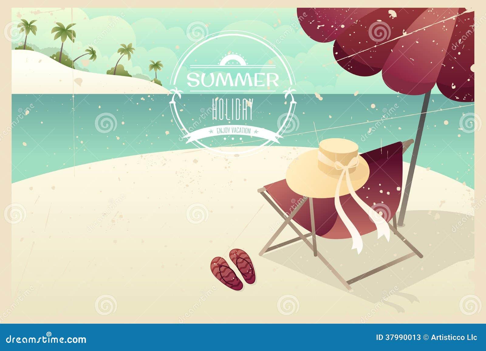 Vintage summer poster stock vector. Illustration of beach ...
