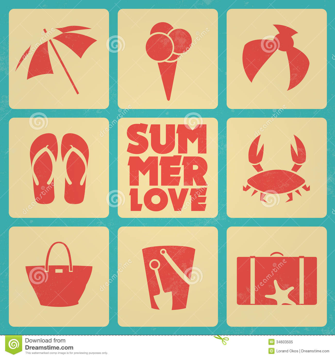 Retro Beach Illustration Royalty Free Stock Photo: Vintage Summer Poster With Icons