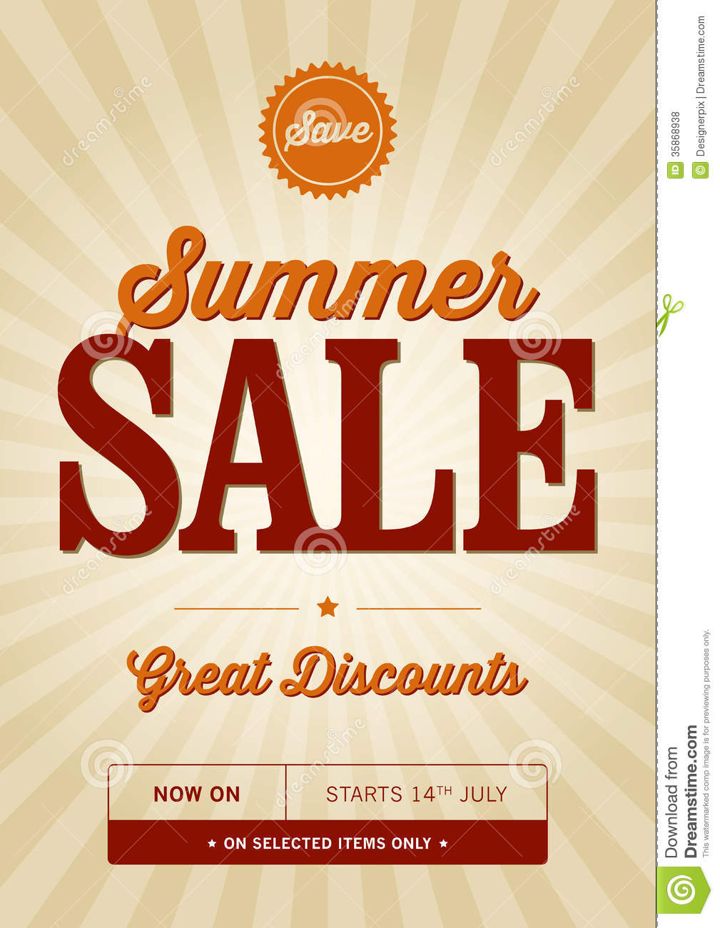 Vintage Summer Sale Design Royalty Free Stock Photos