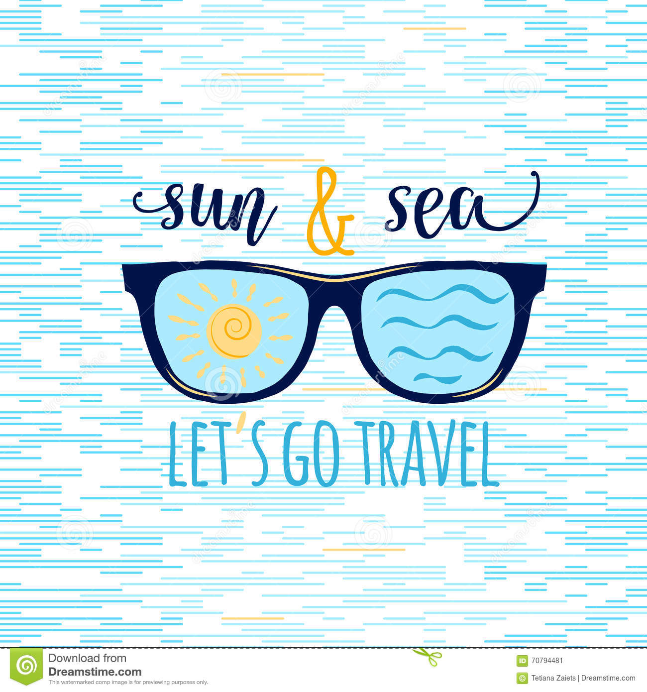Vintage Summer Sunglasses With Quote Lets Go Travel