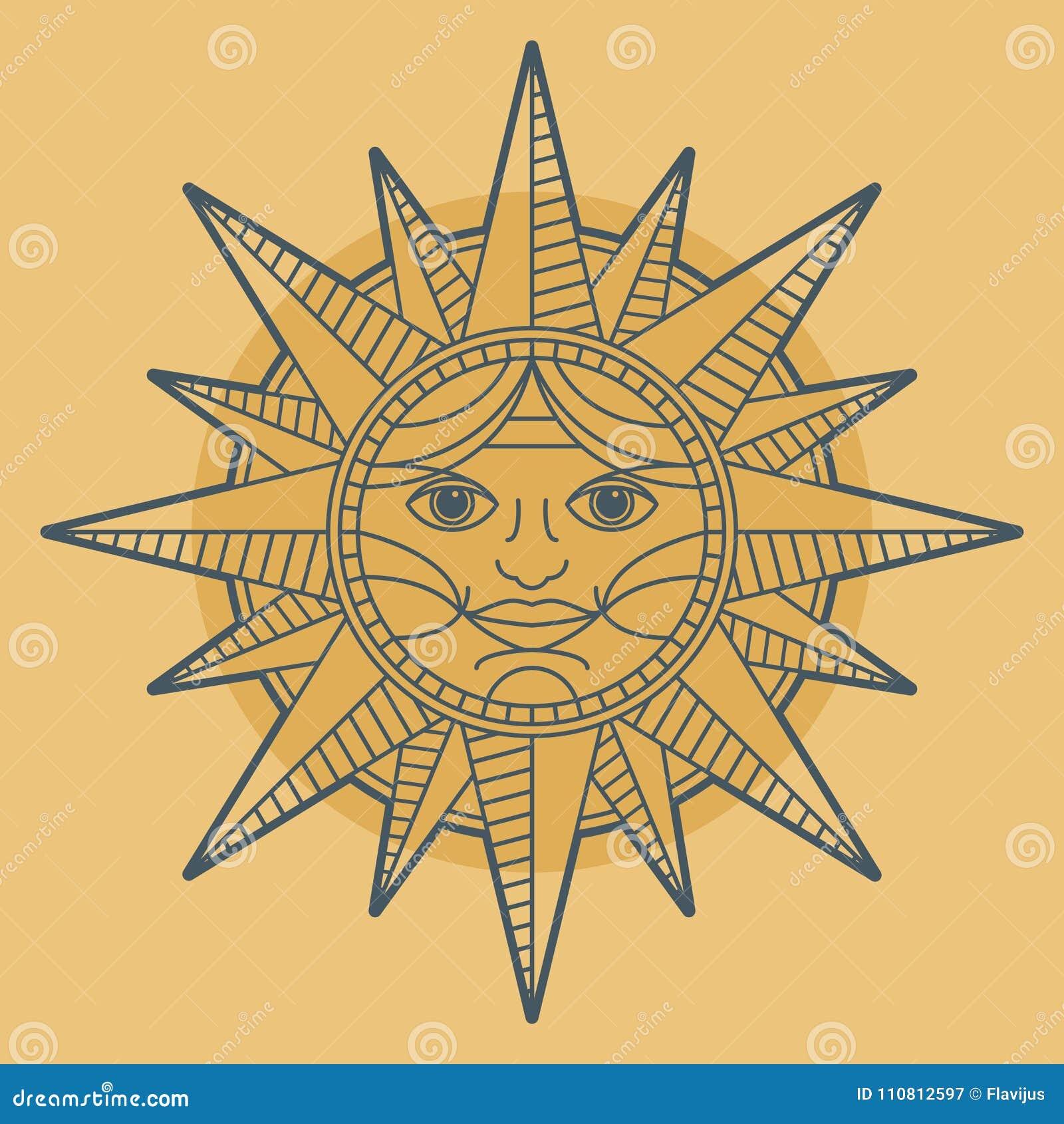 Vintage Sun Free Stock Photo (With images) | Sun art, Sun ... |Vintage Sun Illustration
