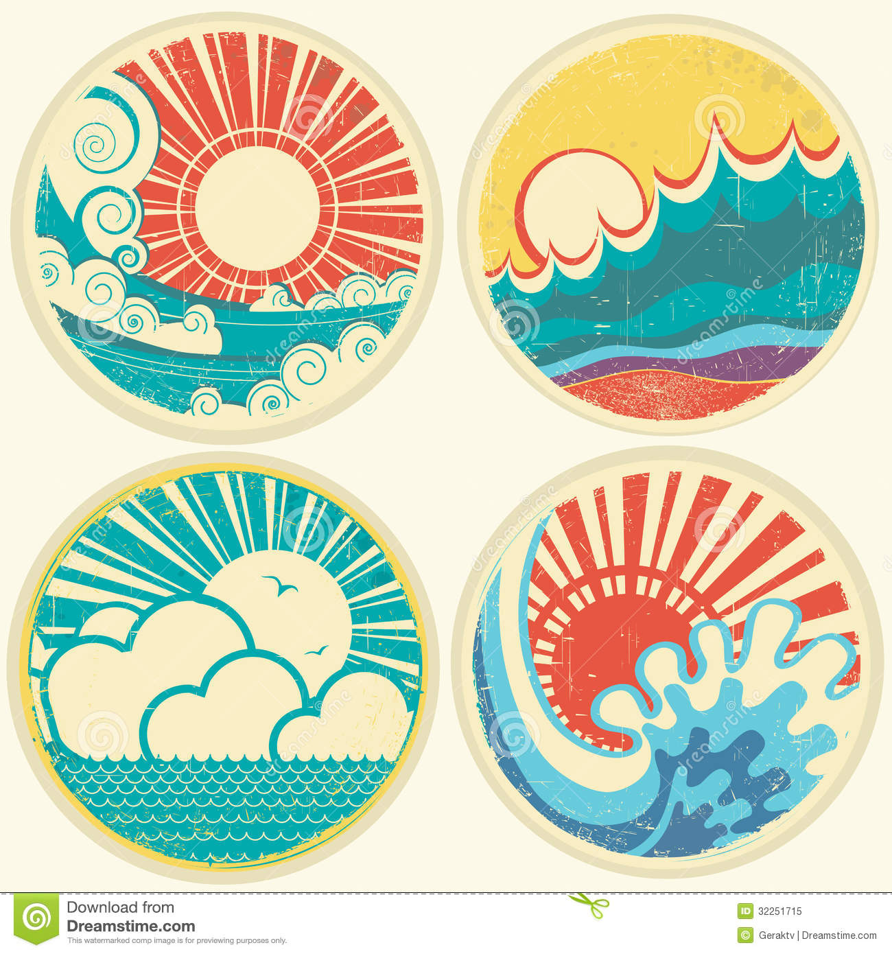 Classic Retro Illustration: Vintage Sun And Sea Waves. Vector Icons Of Illust Royalty