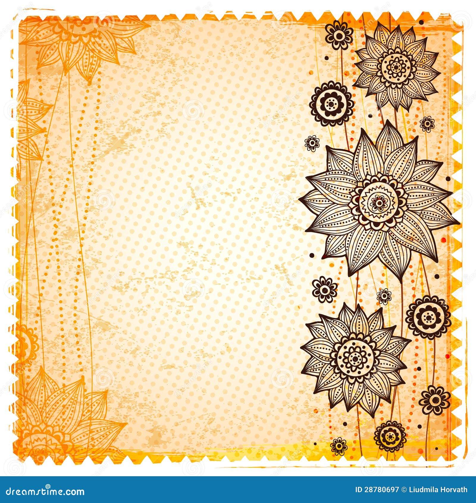 vintage sunflower background stock vector